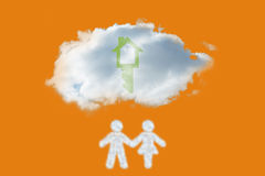 Composite image of cloud in shape of couple Stock Photography