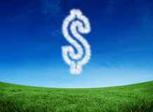 Composite image of cloud in shape of dollar. Cloud in shape of dollar against green field under blue sky Royalty Free Stock Photos