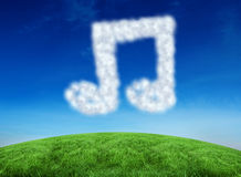 Composite image of cloud in shape of quaver Royalty Free Stock Photo
