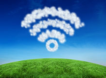Composite image of cloud in shape of wifi sign Royalty Free Stock Photo