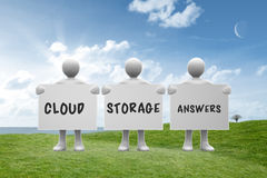 Composite image of cloud storage answers. Cloud storage answers against green field under blue sky Royalty Free Stock Photos