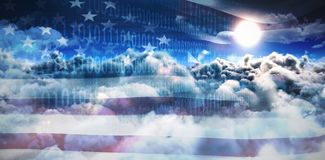 Composite image of clouds and binary coded computer screen. Clouds and binary coded computer screen against digitally image of american flag and sky Stock Photos
