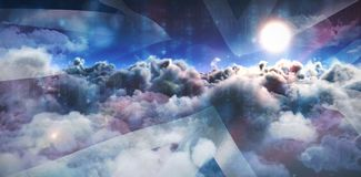 Composite image of clouds over binary coded screen. Clouds over binary coded screen against digital composite image of british flag and sky Royalty Free Stock Photography