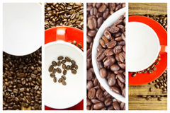 Composite image of coffee beans and mugs Stock Photography