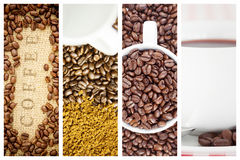 Composite image of coffee beans surrounding coffee stamp on sack Stock Photos