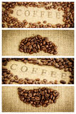 Composite image of coffee beans surrounding coffee stamp on sack Stock Photo