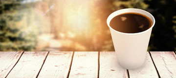 Composite image of coffee cup over white background Stock Photos