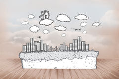 Composite image of cog over cityscape doodle Stock Images