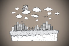 Composite image of cog over cityscape doodle Stock Image