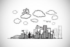 Composite image of cog over cityscape doodle Royalty Free Stock Images