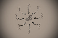 Composite image of cog and wheel doodle with stick figures Royalty Free Stock Photography