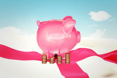 Composite image of coins and piggy bank Royalty Free Stock Photo