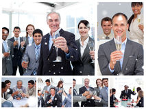 Composite image of collage of business people celebrating success Royalty Free Stock Photography