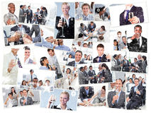 Composite image of collage of businessmen toasting and drinking champagne Stock Images