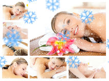 Composite image of collage of a young girl being massaged while relaxing. Collage of a young girl being massaged while relaxing against snowflakes Royalty Free Stock Photography