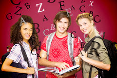 Composite image of college students reading book in library Stock Photography