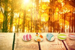 Composite image of colorful easter eggs arranged side by side Royalty Free Stock Photos