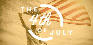 Composite image of colorful happy 4th of july text against white background. Colorful happy 4th of july text against white background against low angle view of Vector Illustration