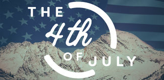 Composite image of colorful happy 4th of july text against white background. Colorful happy 4th of july text against white background against united states of Royalty Free Stock Photo