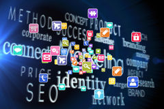 Composite image of colourful computer applications. Colourful computer applications against marketing words on black background royalty free illustration