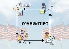Composite image of communities graph against american flag. Digital composite of Composite image of communities graph against american flag Royalty Free Stock Photo