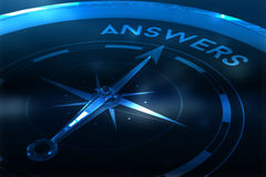 Composite image of compass pointing to answers Royalty Free Stock Image