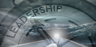 Composite image of compass pointing to leadership Royalty Free Stock Photo