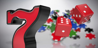 Composite image of composite 3d image of red dice. Composite 3D image of red dice against grey background Stock Photography