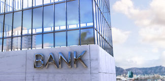 Composite image of composite image of bank building. Composite image of bank building  against city with harbour Royalty Free Stock Image
