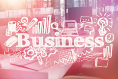 Composite image of composite image of business text surrounded with different computer icons 3d. Composite image of business text surrounded with different Stock Images