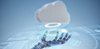 Composite image of composite image of cloud. Composite image of cloud against composite image of illuminated volume dial Stock Image