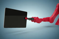 Composite image of composite image of digital tablet held by red robot 3d Royalty Free Stock Image