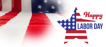 Composite image of composite image of happy labor day text and star shape american flag Stock Photography