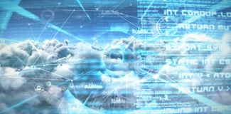 Composite image of composite image of interface connecting lines over clouds stock illustration