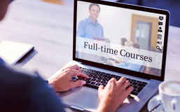 Composite image of composite image of online courses. Composite image of online courses against cropped image of man working on laptop Royalty Free Stock Image