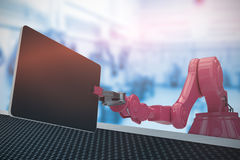 Composite image of composite image of red robot with digital tablet 3d Royalty Free Stock Images