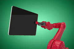 Composite image of composite image of red robot holding digital tablet 3d Royalty Free Stock Photo
