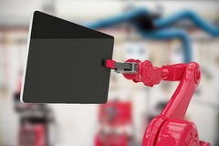 Composite image of composite image of red robot holding digital tablet 3d Stock Images