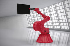 Composite image of composite image of robot holding computer tablet 3d Royalty Free Stock Images