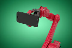 Composite image of composite image of robot holding smart phone 3d Royalty Free Stock Photos
