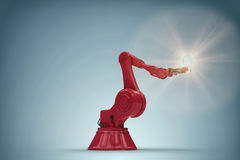 Composite image of composite image of robotic arm holding filament 3d. Composite image of robotic arm holding filament against grey vignette 3d Royalty Free Stock Image