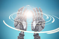 Composite image of composite image of robotic hands against blue background 3d Royalty Free Stock Image