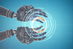Composite image of composite image of robotic hands against white background 3d. Composite image of robotic hands against white background against digital image Stock Images