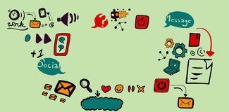 Composite image of composite image of social media symbols Royalty Free Stock Photo