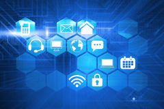 Composite image of computer applications. Computer applications against futuristic blue circuit board vector illustration