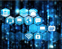 Composite image of computer applications. Computer applications against lines of blue blurred letters falling royalty free illustration