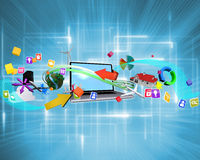 Composite image of computer applications. Computer applications against multiple geometric lights royalty free illustration
