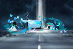 Composite image of computer applications. Computer applications against road leading out to the horizon with light beam vector illustration
