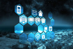 Composite image of computer applications. Computer applications against rocky landscape royalty free illustration