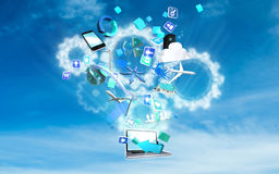 Composite image of computer applications. Computer applications against white cogs in the sky royalty free illustration